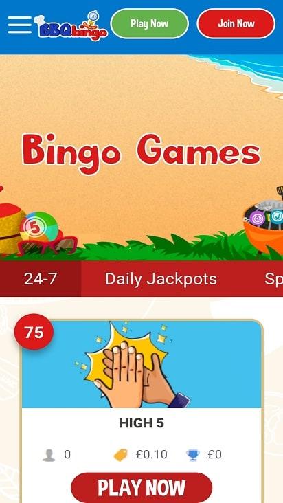 BBq bingo Games page