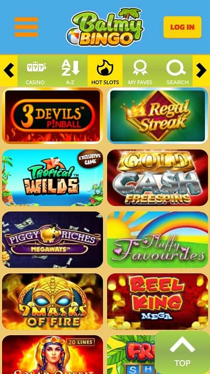 Balmy Bingo Games page