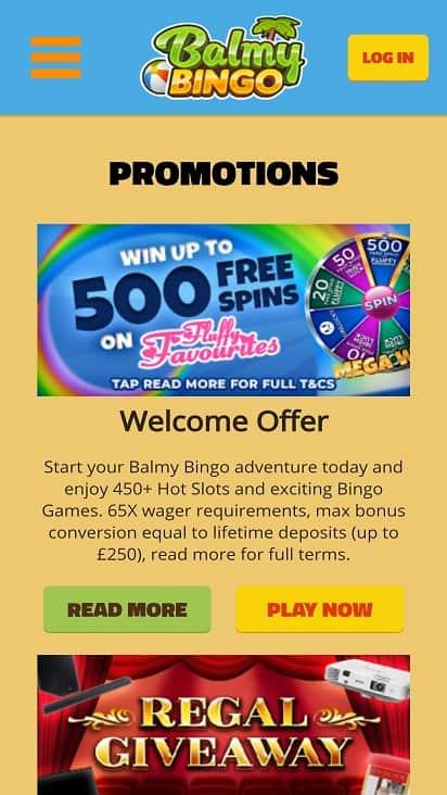 Balmy Bingo Promotions page