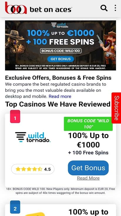 Bet on aces games page