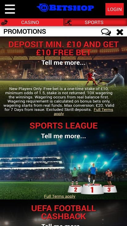 Betshop Promotions page