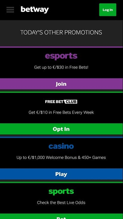 Betway Promotions page