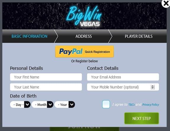 Big Win Vegas signup