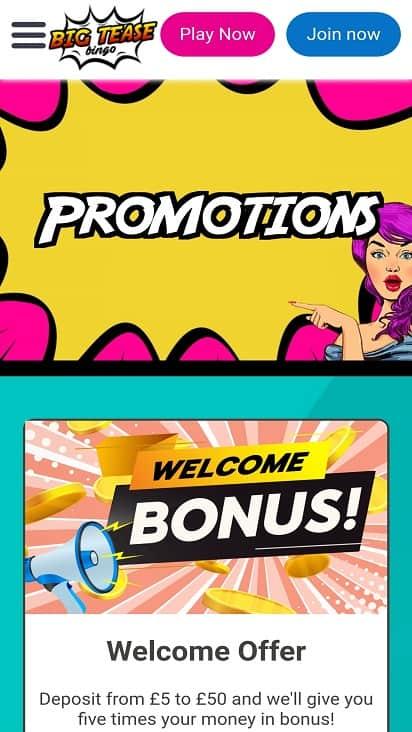 Big tease bingo promotions page