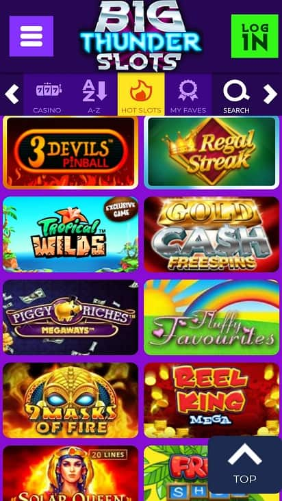 Big thunder slots games page