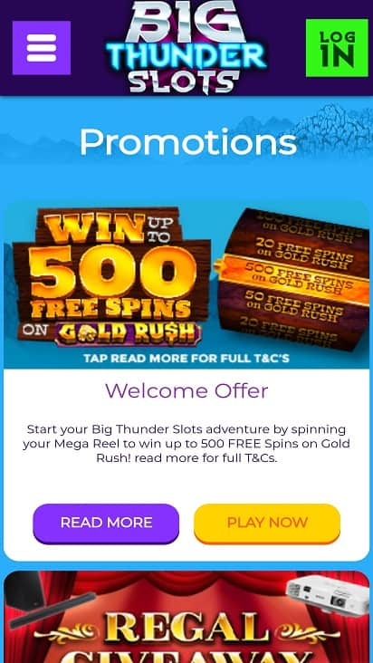 Big thunder slots promotions page
