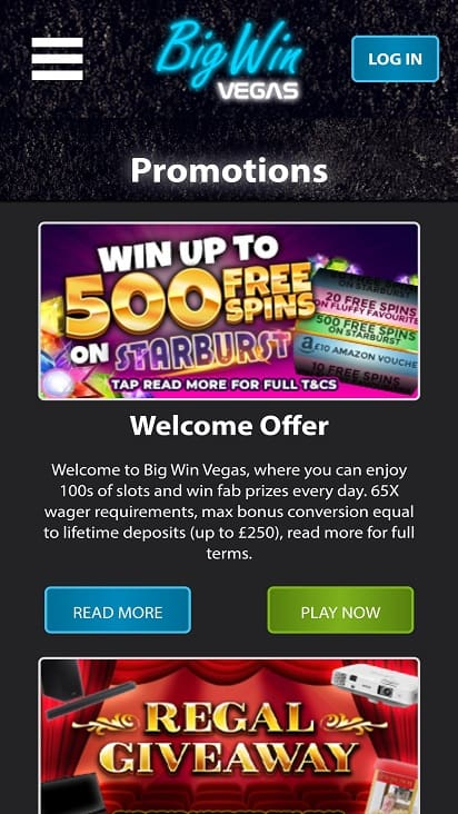 Big win vegas promotions page
