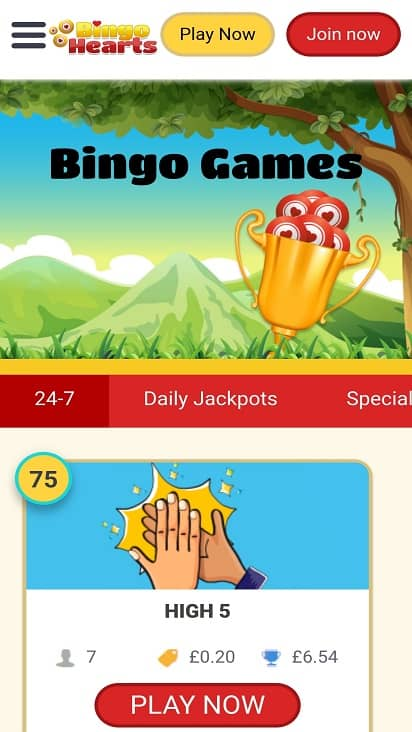 Bingo hearts games page