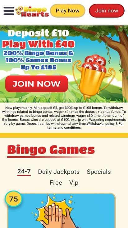 Bingo hearts home page