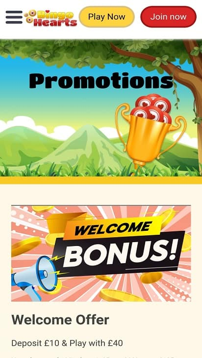 Bingo hearts promotions page