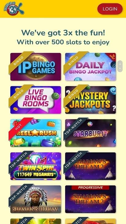 Bingo 3x games page