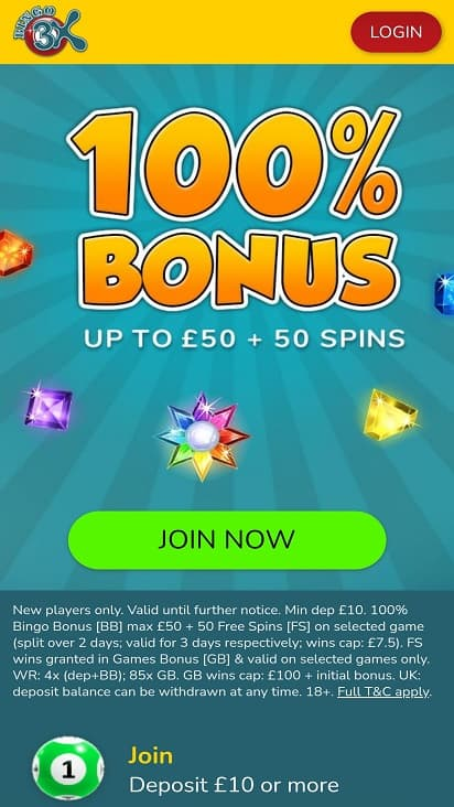 Bingo 3x home page