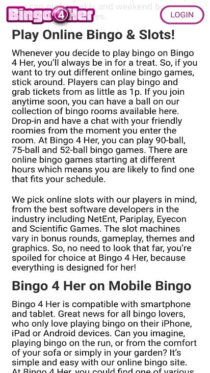 Bingo 4 her games page