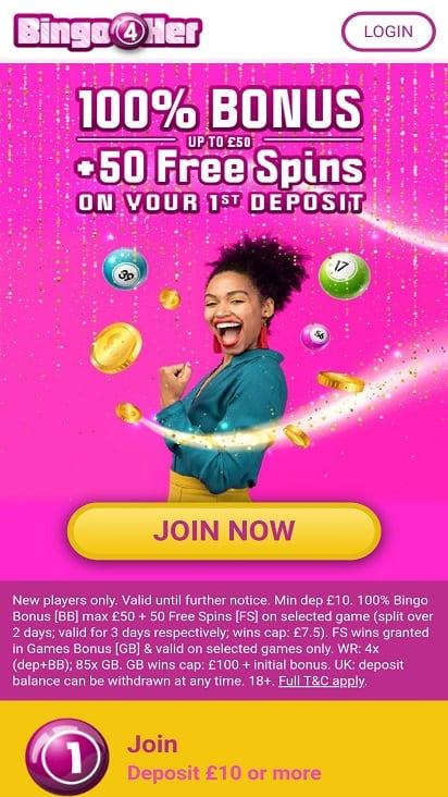 Bingo 4 her home page