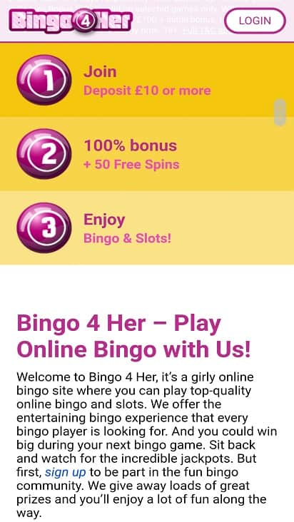 Bingo 4 her promotions page