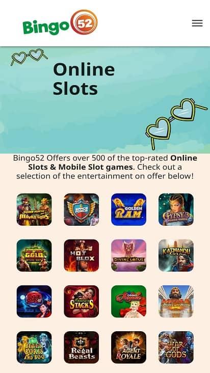 Bingo 52 Games page