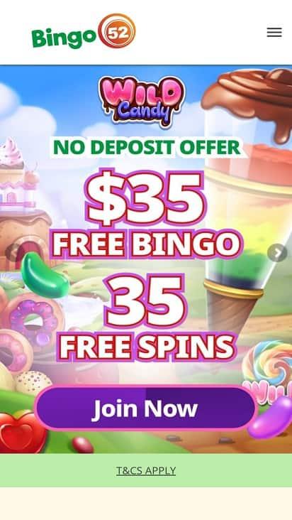 Bingo 52 home page