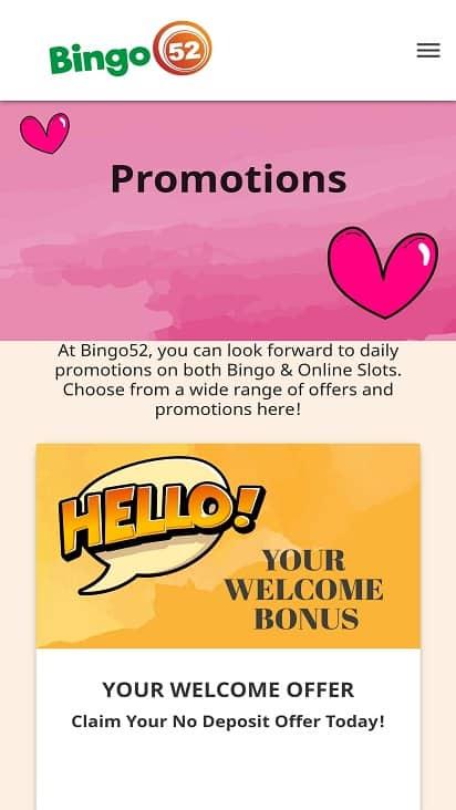 Bingo 52 promotions page