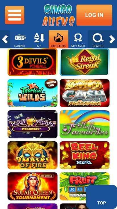 Bingo Aliens Games page