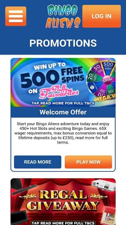 Bingo Aliens Promotions page