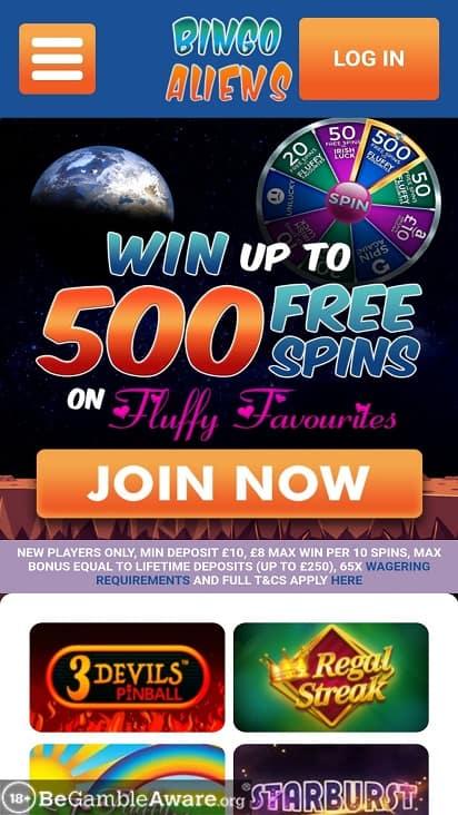 Bingo Aliens home page