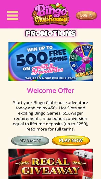Bingo Clubhouse promotions page