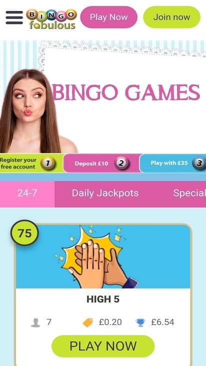 Bingo Fabulous games page