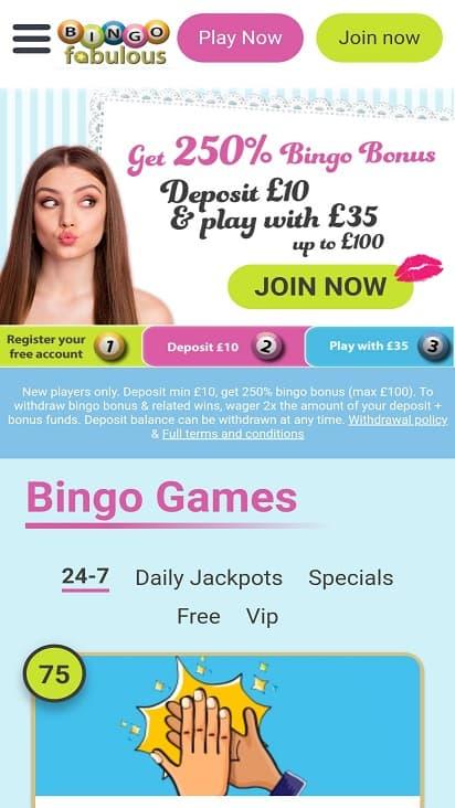 Bingo Fabulous home page