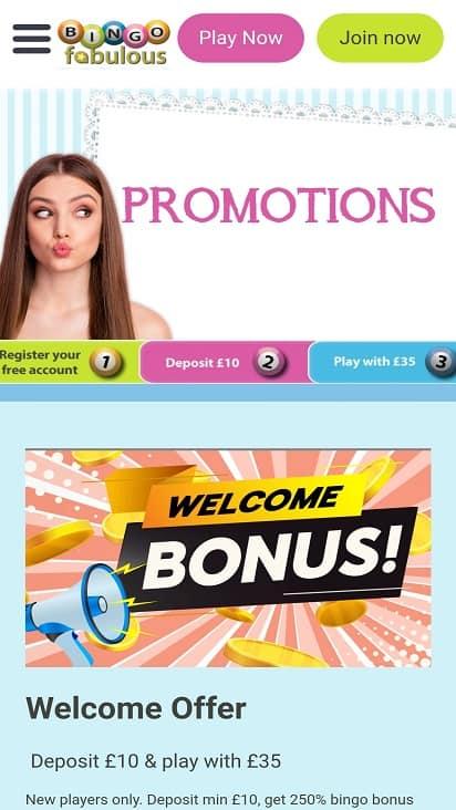 Bingo Fabulous promotions page