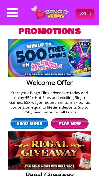 Bingo Fling promotions page