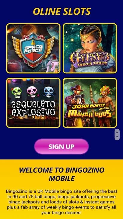 Bingo Zino Games page