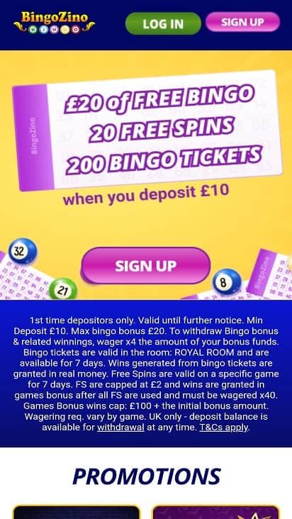 Bingo Zino Home page