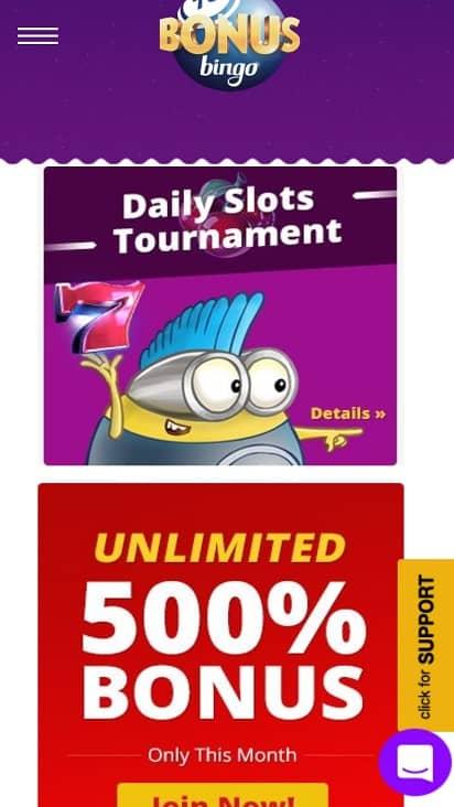 Bingo bonus Promotions page