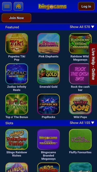 Bingo cams games page