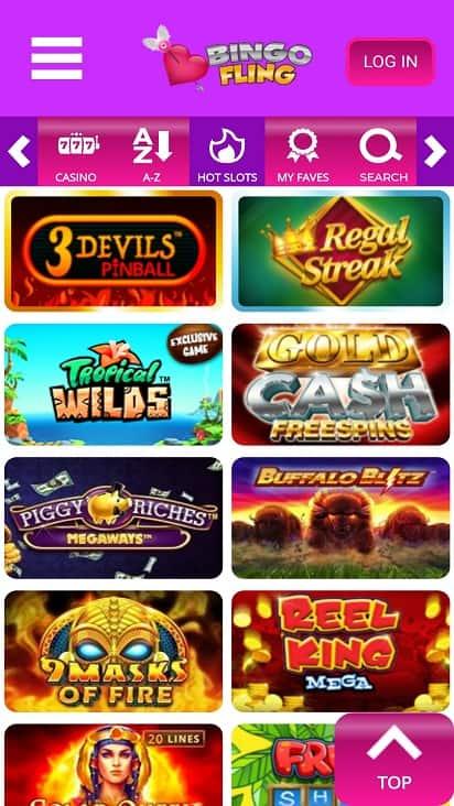 Bingo fling Games page