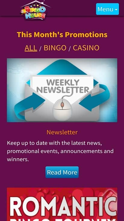 Bingo house Promotions page