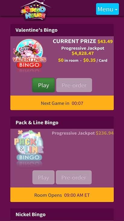 Bingo house games page