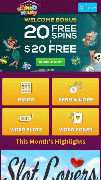 Bingo house home page