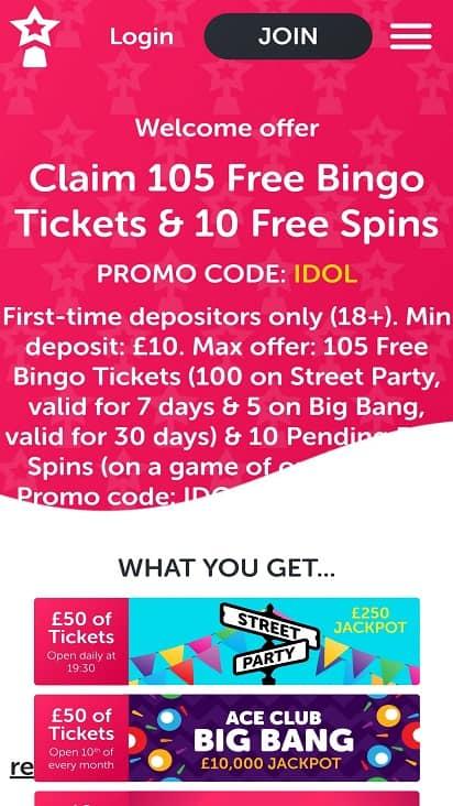 Bingo idol Promotions page
