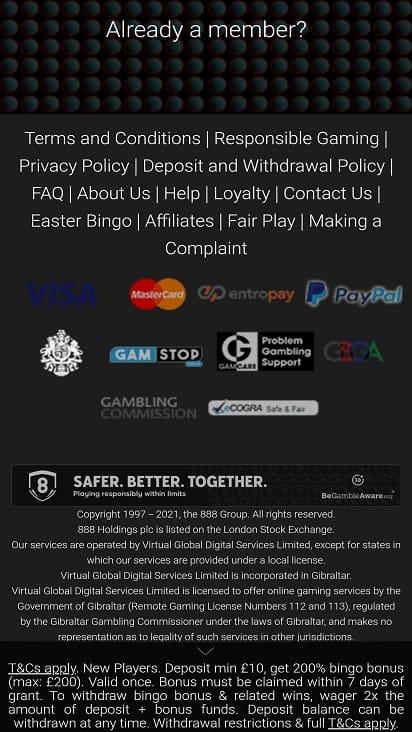 Bingoloft games page