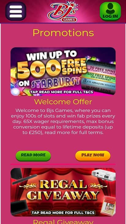 Bjs games promotions page