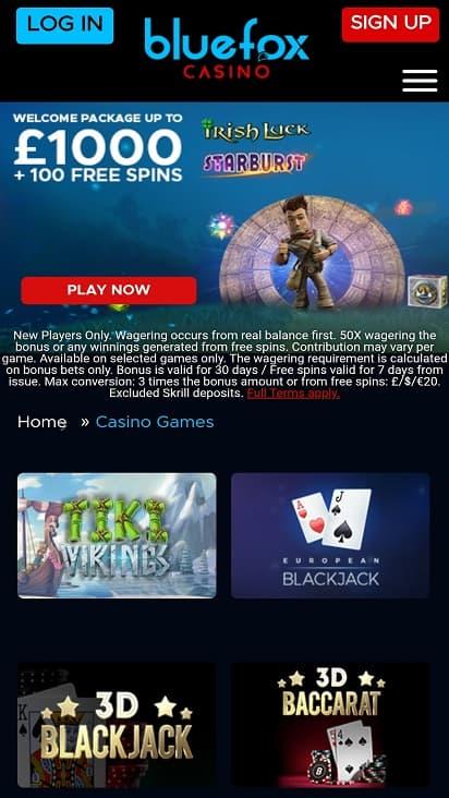 Blue Fox casino games page