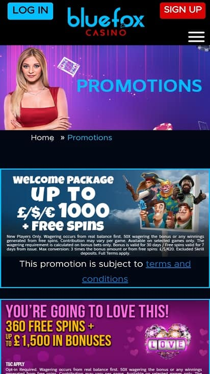 Blue fox casino promotions page