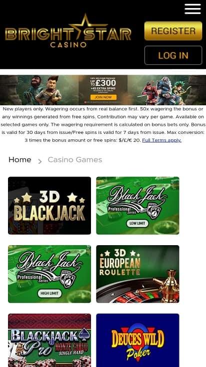 Bright star casino games page