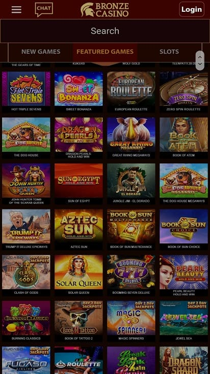 Bronze casino games page