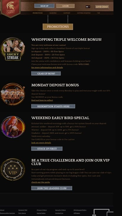 Bronze casino promotions page