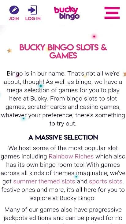 Bucky bingo games page