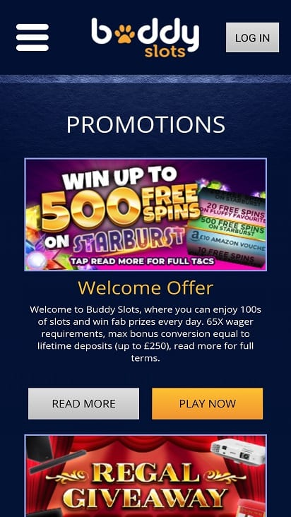 Buddy slots promotions page