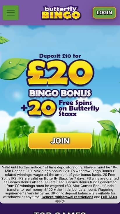 Butterfly bingo promotions page