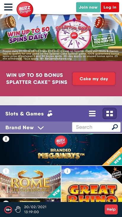 Buzz bingo games page
